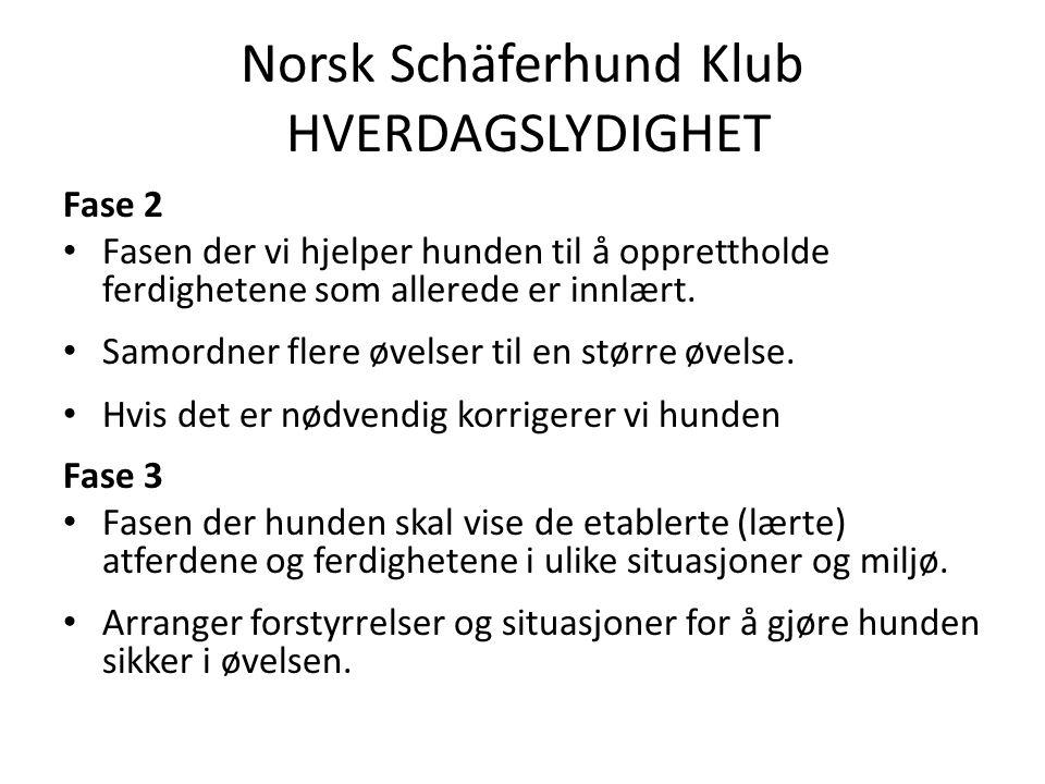 Norsk Schäferhund Klub HVERDAGSLYDIGHET Fase 2 Fasen der vi hjelper hunden til å opprettholde ferdighetene som allerede er innlært.