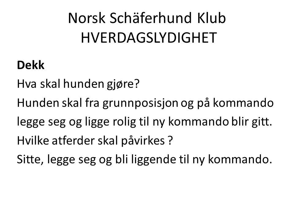 Norsk Schäferhund Klub HVERDAGSLYDIGHET Dekk Hva skal hunden gjøre.