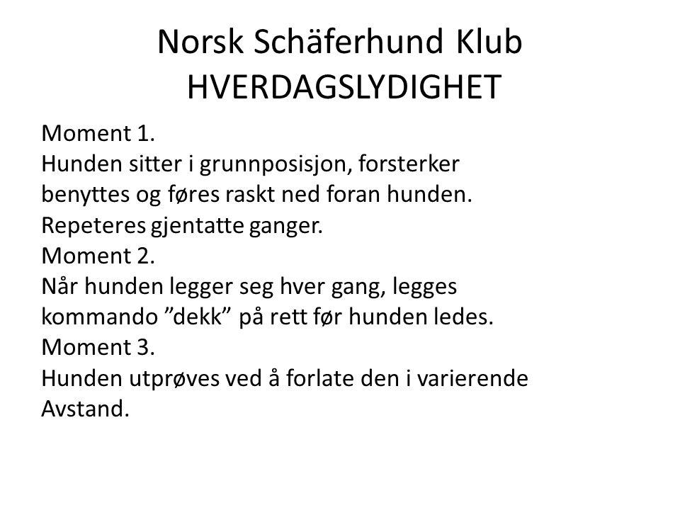 Norsk Schäferhund Klub HVERDAGSLYDIGHET Moment 1.