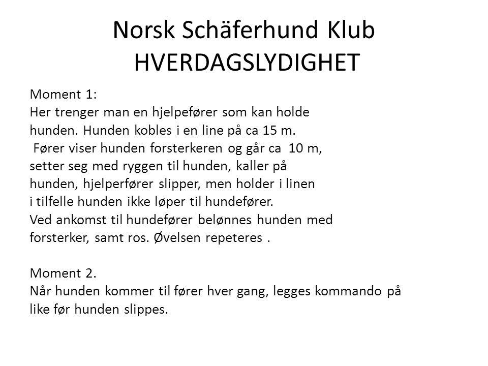 Norsk Schäferhund Klub HVERDAGSLYDIGHET Moment 1: Her trenger man en hjelpefører som kan holde hunden.