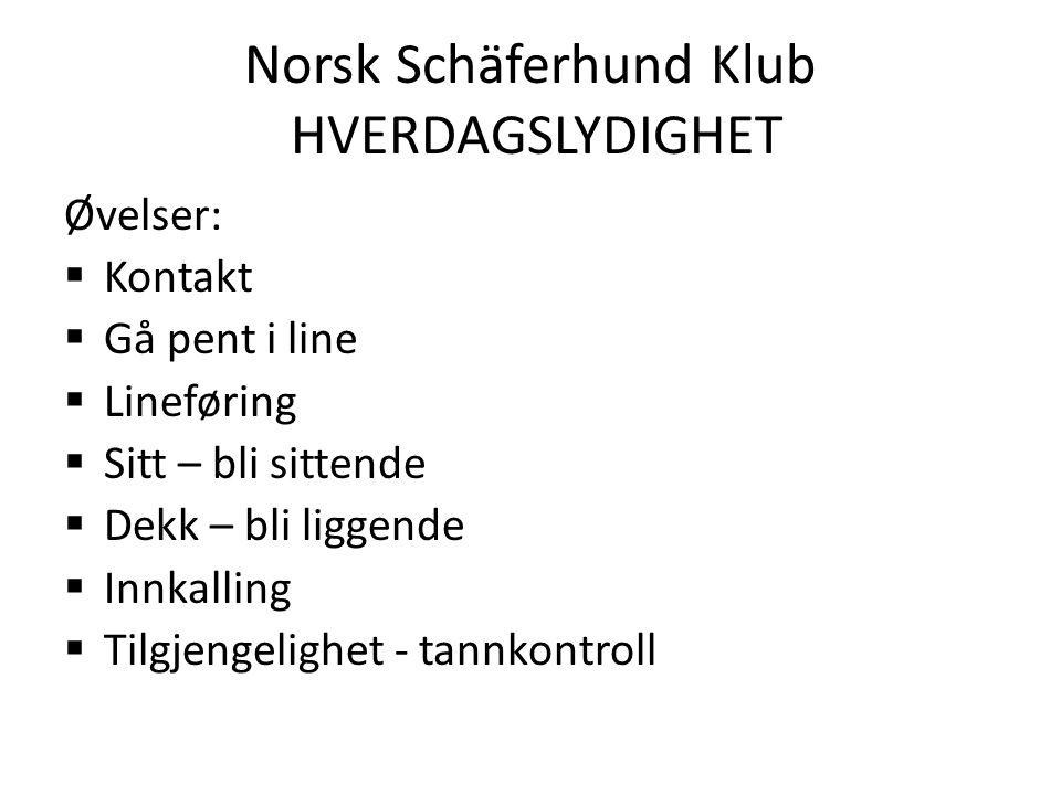 Norsk Schäferhund Klub HVERDAGSLYDIGHET MÅLSETNING MED LEKSJONENE Gi hundefører (HF) en teoretisk og praktisk innføring i hvordan man lærer opp en hund (H) i øvelsene.