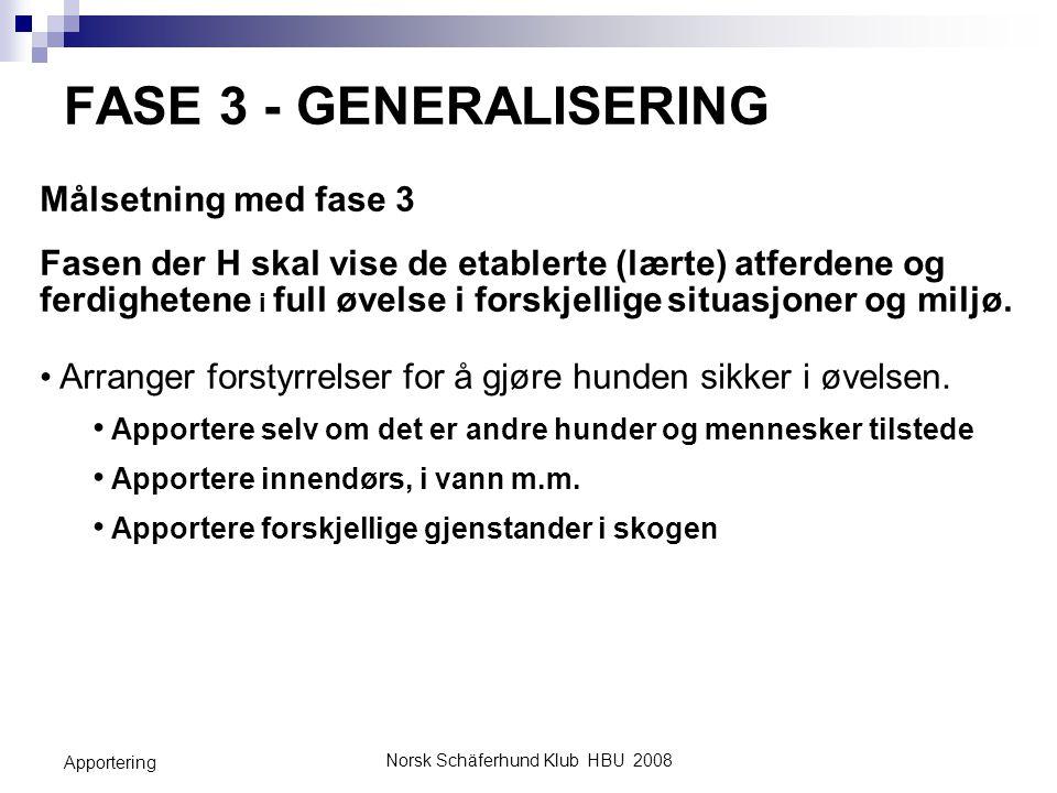 Norsk Schäferhund Klub HBU 2008 Apportering FASE 3 - GENERALISERING Målsetning med fase 3 Fasen der H skal vise de etablerte (lærte) atferdene og ferd