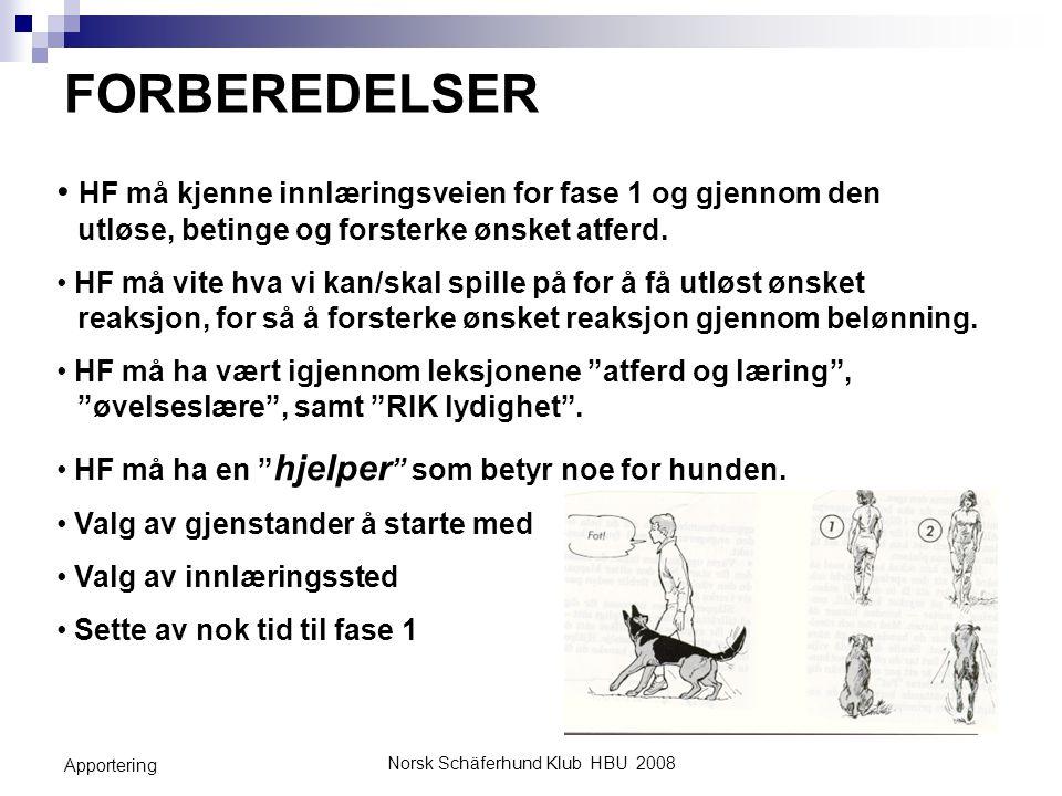 Norsk Schäferhund Klub HBU 2008 Apportering FORBEREDELSER HF må kjenne innlæringsveien for fase 1 og gjennom den utløse, betinge og forsterke ønsket a