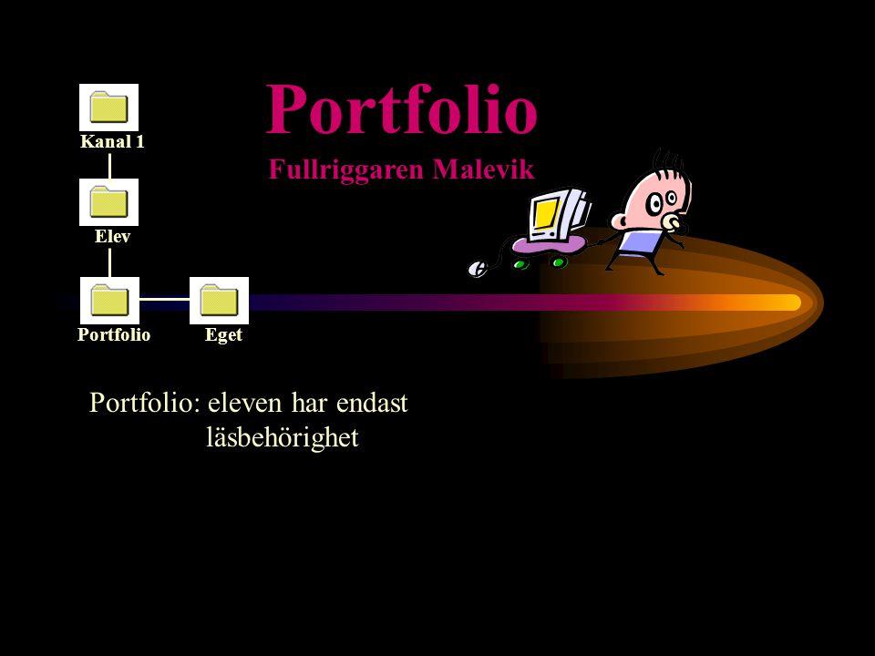 Portfolio Elev Eget Kanal 1 Portfolio Fullriggaren Malevik Eget: eleven har all behörighet
