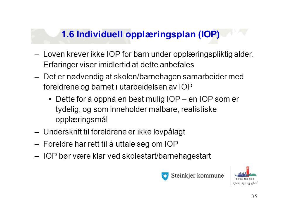 35 1.6 Individuell opplæringsplan (IOP) –Loven krever ikke IOP for barn under opplæringspliktig alder. Erfaringer viser imidlertid at dette anbefales