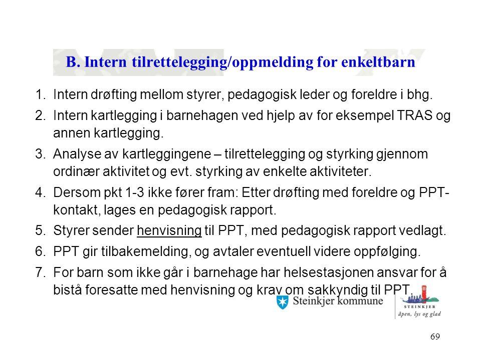 69 B. Intern tilrettelegging/oppmelding for enkeltbarn 1.Intern drøfting mellom styrer, pedagogisk leder og foreldre i bhg. 2.Intern kartlegging i bar