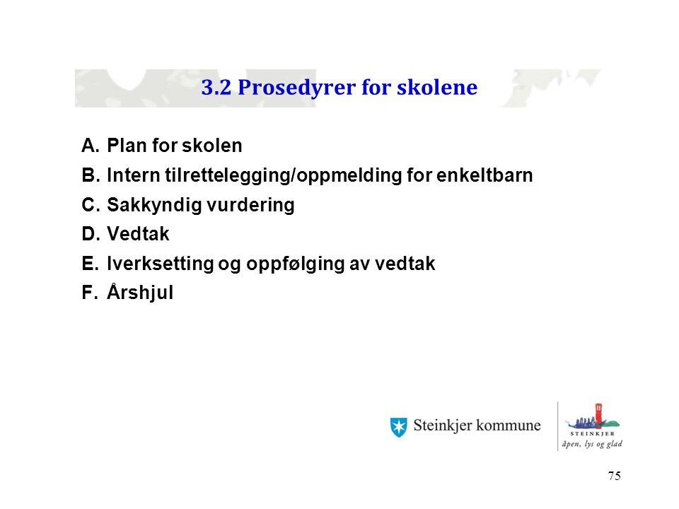 75 3.2 Prosedyrer for skolene A.Plan for skolen B.Intern tilrettelegging/oppmelding for enkeltbarn C.Sakkyndig vurdering D.Vedtak E.Iverksetting og op
