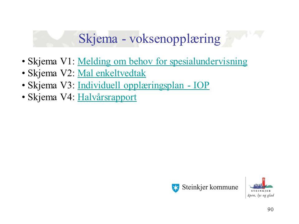 90 Skjema - voksenopplæring Skjema V1: Melding om behov for spesialundervisningMelding om behov for spesialundervisning Skjema V2: Mal enkeltvedtakMal