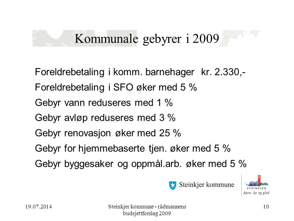 19.07.2014Steinkjer kommune - rådmannens budsjettforslag 2009 10 Kommunale gebyrer i 2009 Foreldrebetaling i komm.