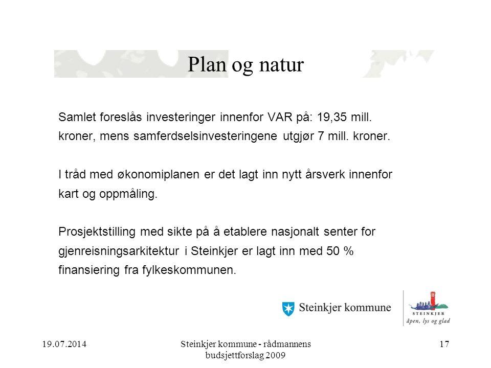 19.07.2014Steinkjer kommune - rådmannens budsjettforslag 2009 17 Plan og natur Samlet foreslås investeringer innenfor VAR på: 19,35 mill.