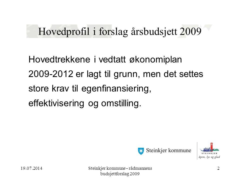 19.07.2014Steinkjer kommune - rådmannens budsjettforslag 2009 2 Hovedprofil i forslag årsbudsjett 2009 Hovedtrekkene i vedtatt økonomiplan 2009-2012 er lagt til grunn, men det settes store krav til egenfinansiering, effektivisering og omstilling.