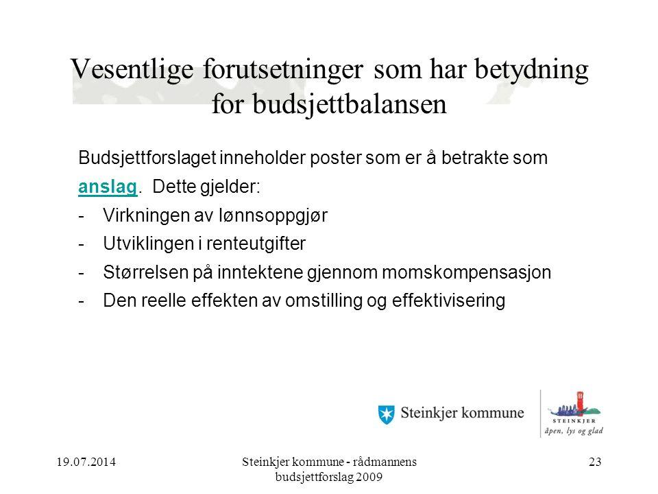 19.07.2014Steinkjer kommune - rådmannens budsjettforslag 2009 23 Vesentlige forutsetninger som har betydning for budsjettbalansen Budsjettforslaget inneholder poster som er å betrakte som anslag.