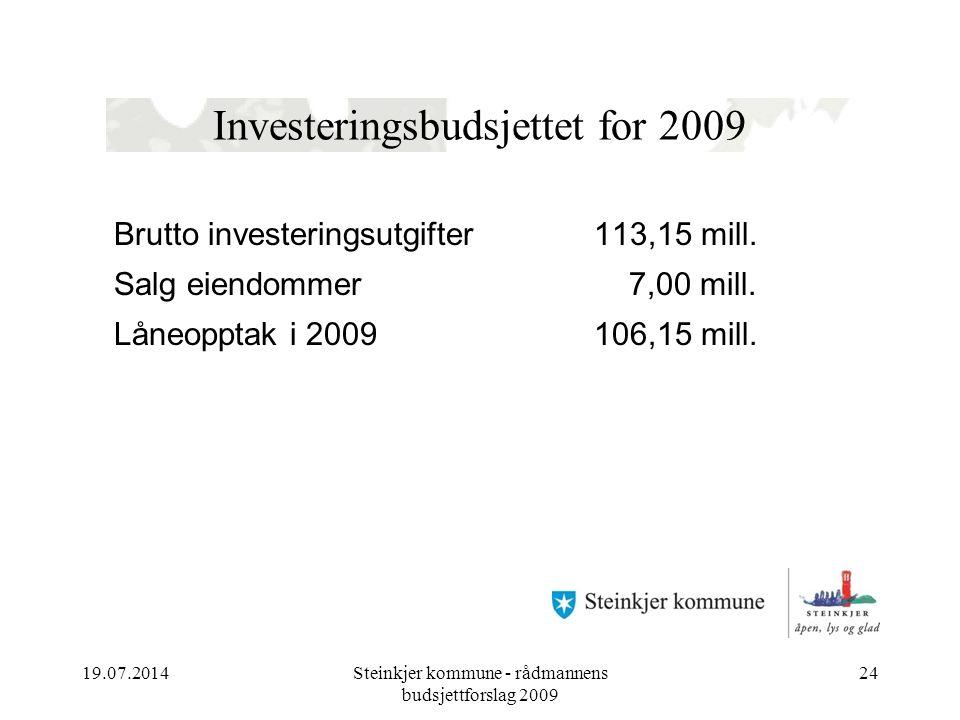 19.07.2014Steinkjer kommune - rådmannens budsjettforslag 2009 24 Investeringsbudsjettet for 2009 Brutto investeringsutgifter 113,15 mill.