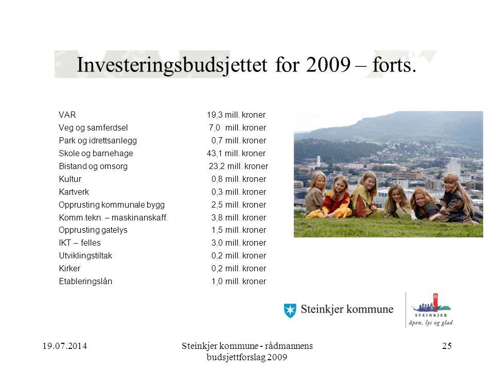 19.07.2014Steinkjer kommune - rådmannens budsjettforslag 2009 25 Investeringsbudsjettet for 2009 – forts.