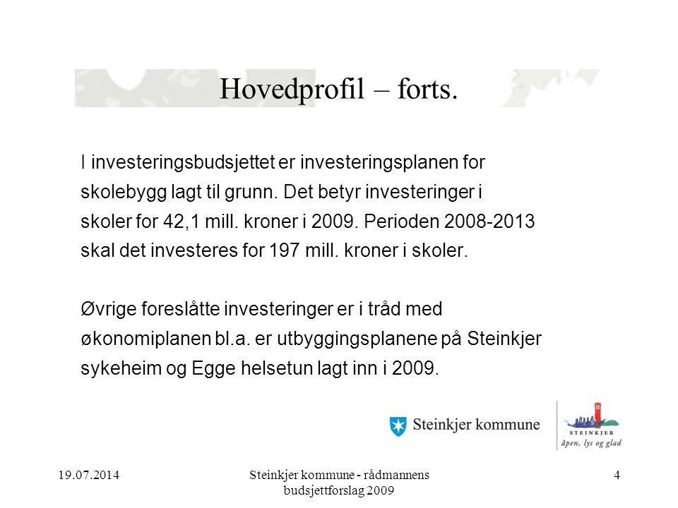 19.07.2014Steinkjer kommune - rådmannens budsjettforslag 2009 4 Hovedprofil – forts.