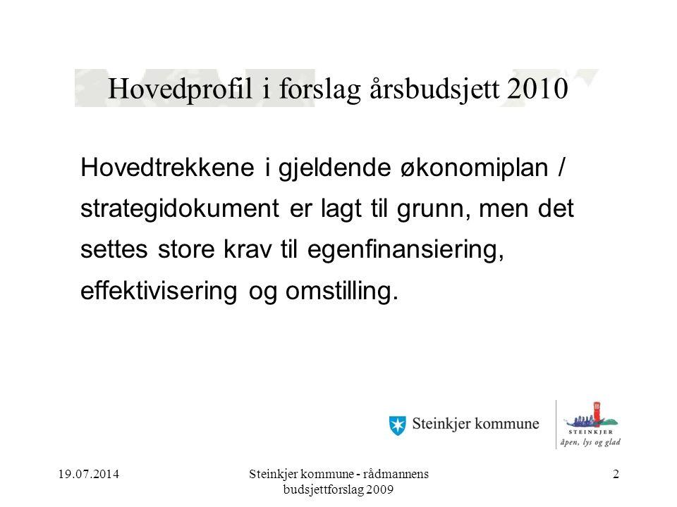 19.07.2014Steinkjer kommune - rådmannens budsjettforslag 2009 2 Hovedprofil i forslag årsbudsjett 2010 Hovedtrekkene i gjeldende økonomiplan / strategidokument er lagt til grunn, men det settes store krav til egenfinansiering, effektivisering og omstilling.