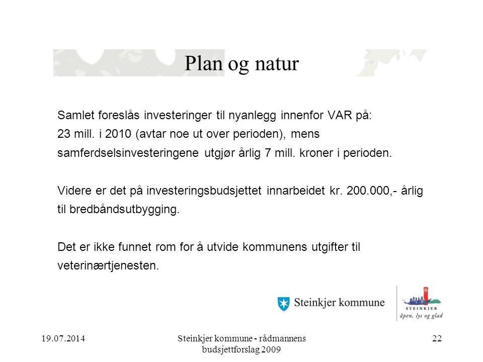 19.07.2014Steinkjer kommune - rådmannens budsjettforslag 2009 22 Plan og natur Samlet foreslås investeringer til nyanlegg innenfor VAR på: 23 mill. i