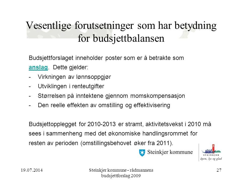 19.07.2014Steinkjer kommune - rådmannens budsjettforslag 2009 27 Vesentlige forutsetninger som har betydning for budsjettbalansen Budsjettforslaget inneholder poster som er å betrakte som anslag.