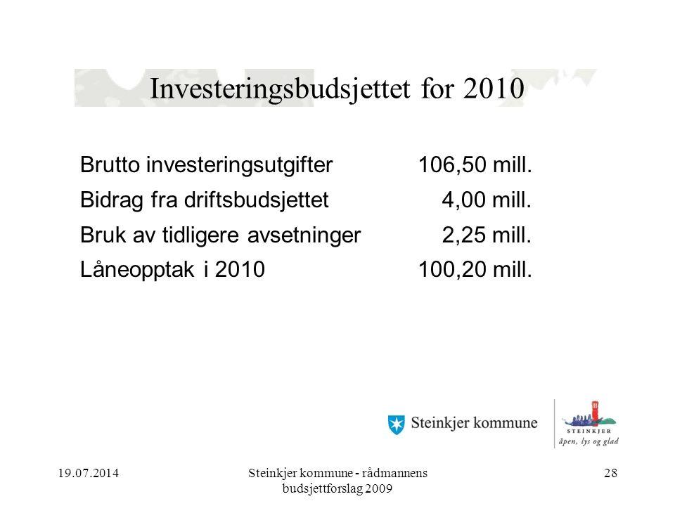 19.07.2014Steinkjer kommune - rådmannens budsjettforslag 2009 28 Investeringsbudsjettet for 2010 Brutto investeringsutgifter 106,50 mill. Bidrag fra d