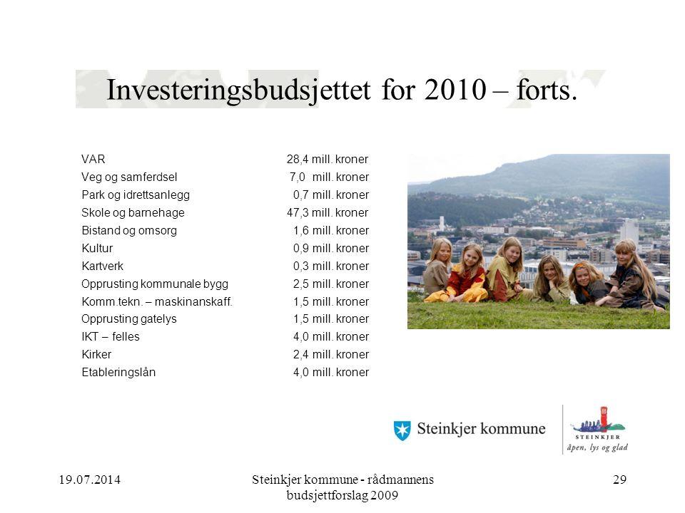 19.07.2014Steinkjer kommune - rådmannens budsjettforslag 2009 29 Investeringsbudsjettet for 2010 – forts. VAR28,4 mill. kroner Veg og samferdsel 7,0 m