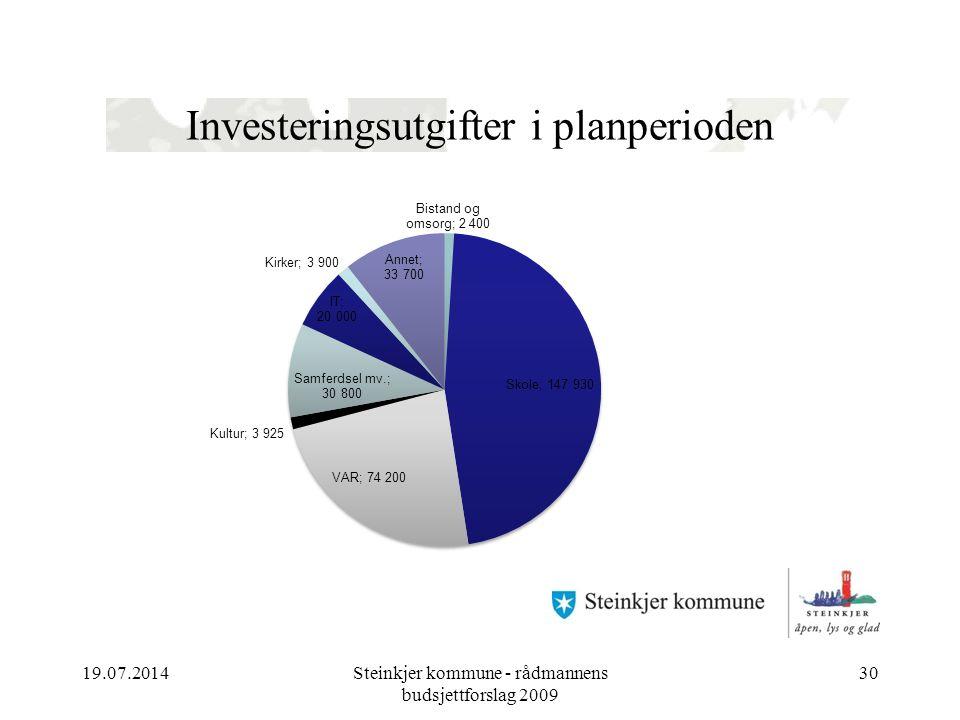 Investeringsutgifter i planperioden 19.07.2014Steinkjer kommune - rådmannens budsjettforslag 2009 30