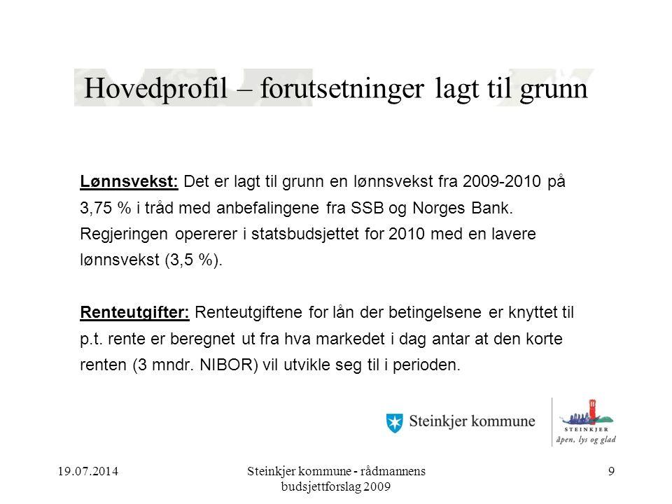 Hovedprofil – forutsetninger lagt til grunn Lønnsvekst: Det er lagt til grunn en lønnsvekst fra 2009-2010 på 3,75 % i tråd med anbefalingene fra SSB og Norges Bank.