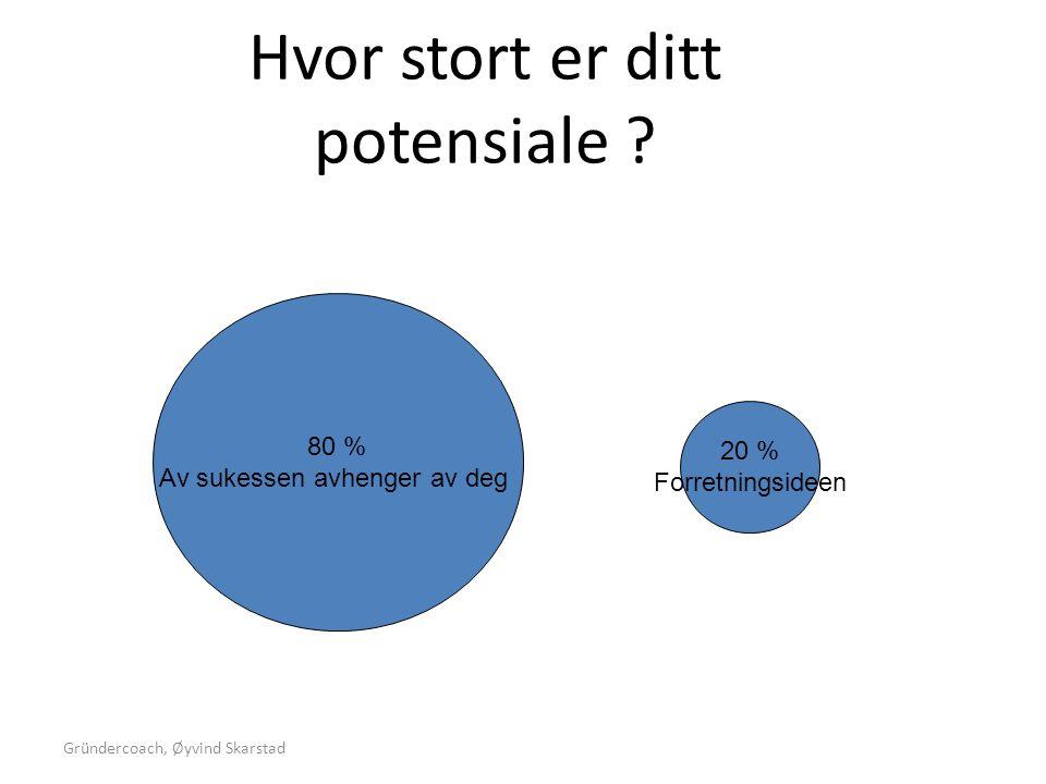 Gründercoach, Øyvind Skarstad Hvor stort er ditt potensiale ? 80 % Av sukessen avhenger av deg 20 % Forretningsideen