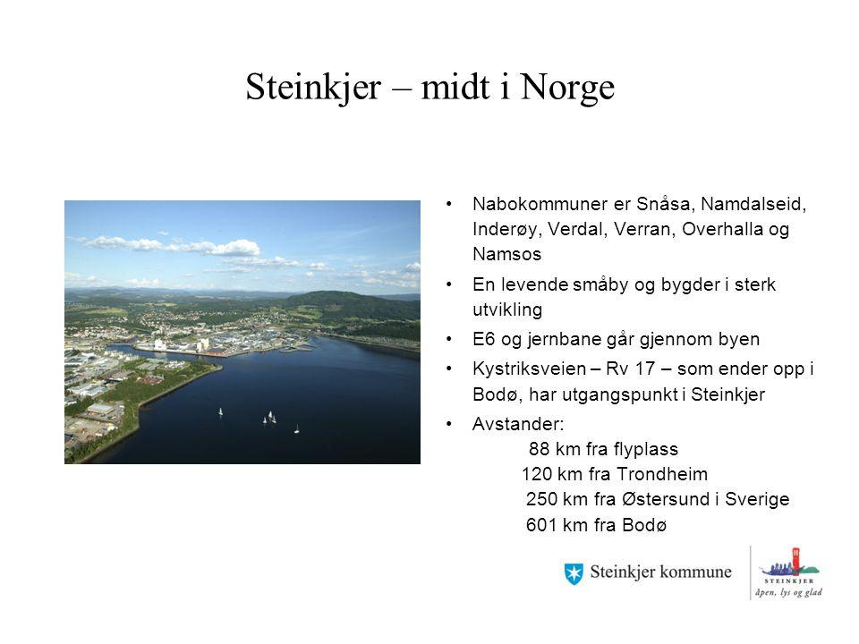 Steinkjer – midt i Norge Nabokommuner er Snåsa, Namdalseid, Inderøy, Verdal, Verran, Overhalla og Namsos En levende småby og bygder i sterk utvikling