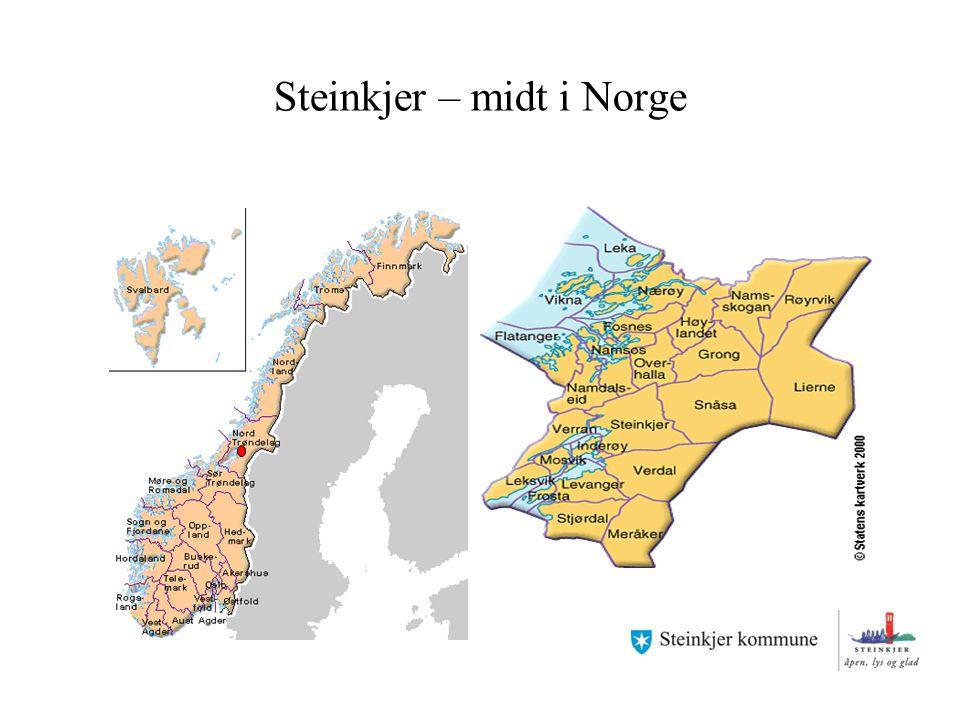 Norges geografiske midtpunkt Norges geografiske midtpunkt ligger i Steinkjer kommune mellom Vakkerlifjellet og Skjækervatnet.