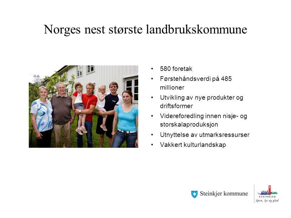 Norges nest største landbrukskommune 580 foretak Førstehåndsverdi på 485 millioner Utvikling av nye produkter og driftsformer Videreforedling innen ni