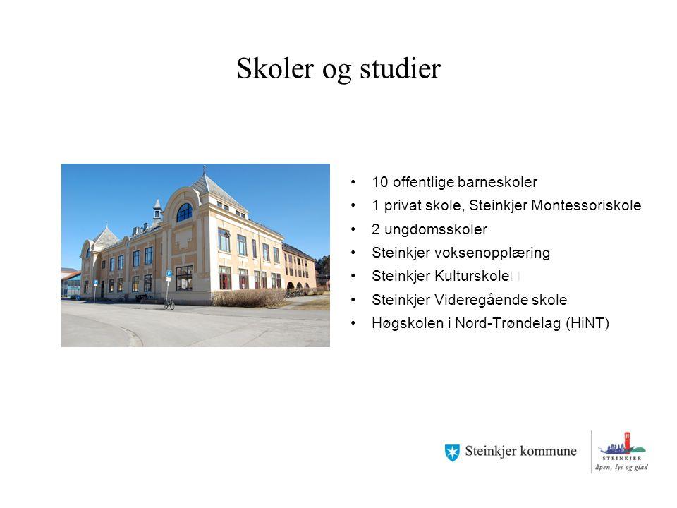 Skoler og studier 10 offentlige barneskoler 1 privat skole, Steinkjer Montessoriskole 2 ungdomsskoler Steinkjer voksenopplæring Steinkjer Kulturskole
