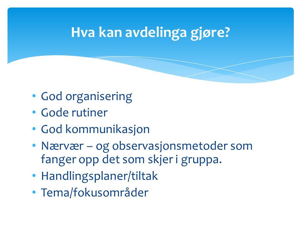 God organisering Gode rutiner God kommunikasjon Nærvær – og observasjonsmetoder som fanger opp det som skjer i gruppa. Handlingsplaner/tiltak Tema/fok