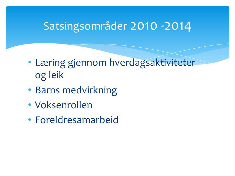Læring gjennom hverdagsaktiviteter og leik Barns medvirkning Voksenrollen Foreldresamarbeid Satsingsområder 2010 -2014