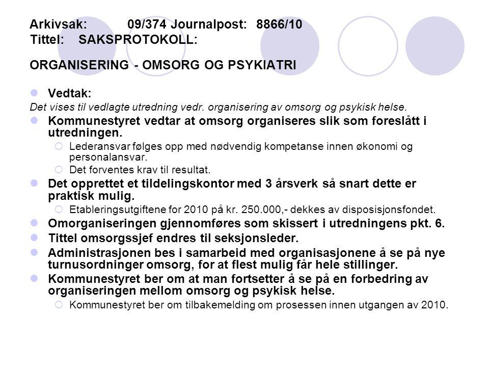 Arkivsak:09/374 Journalpost: 8866/10 Tittel:SAKSPROTOKOLL: ORGANISERING - OMSORG OG PSYKIATRI Vedtak: Det vises til vedlagte utredning vedr.