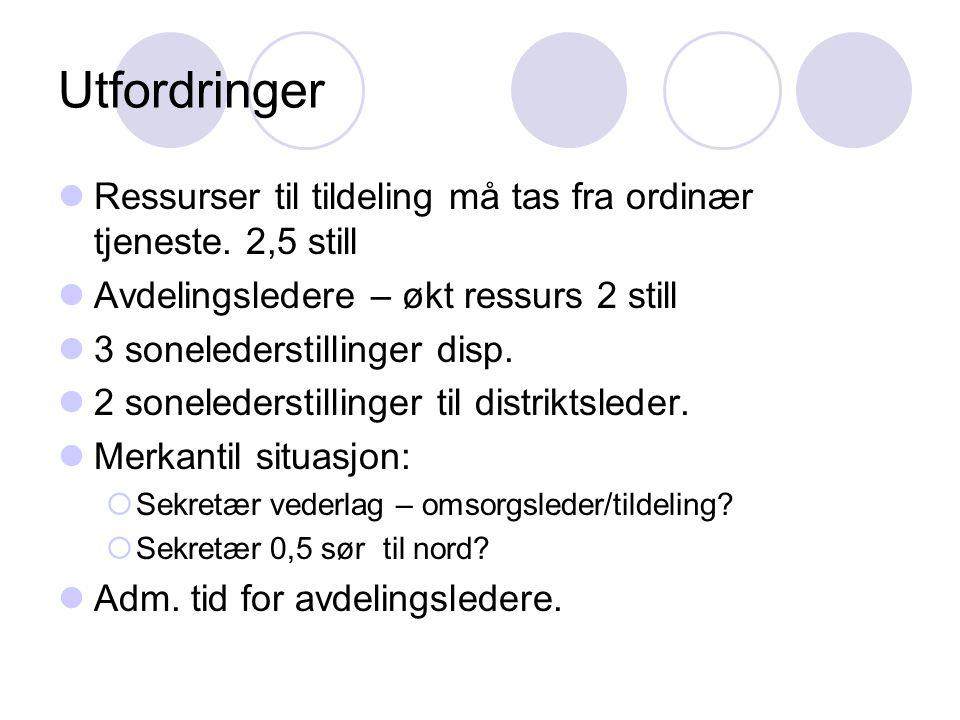 Utfordringer Ressurser til tildeling må tas fra ordinær tjeneste. 2,5 still Avdelingsledere – økt ressurs 2 still 3 sonelederstillinger disp. 2 sonele