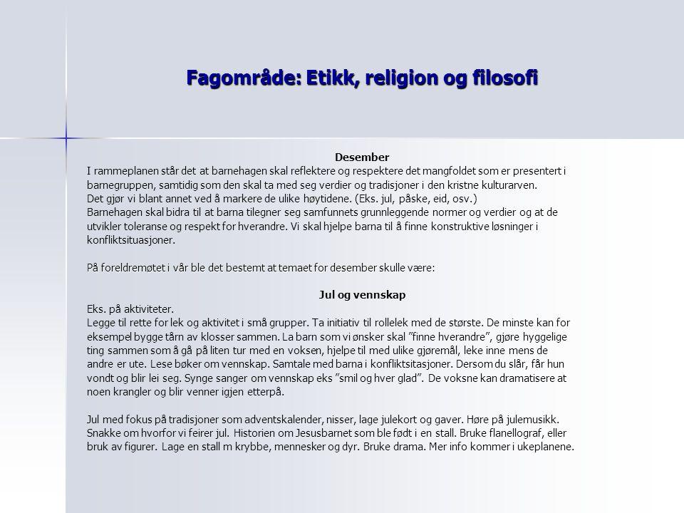 Fagområde: Etikk, religion og filosofi Desember I rammeplanen står det at barnehagen skal reflektere og respektere det mangfoldet som er presentert i