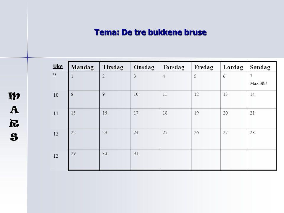 Tema: De tre bukkene bruse MandagTirsdagOnsdagTorsdagFredagLørdagSøndag 1234567 Max Max 3 å r.