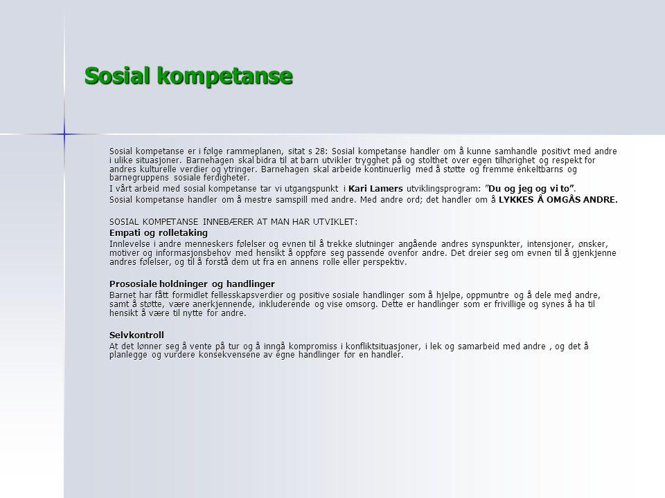 Sosial kompetanse Sosial kompetanse er i følge rammeplanen, sitat s 28: Sosial kompetanse handler om å kunne samhandle positivt med andre i ulike situ