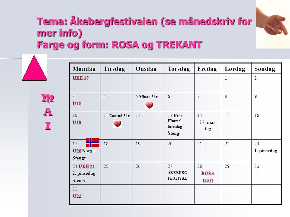 Tema: Åkebergfestivalen (se månedskriv for mer info) Farge og form: ROSA og TREKANT MandagTirsdagOnsdagTorsdagFredagLørdagSøndag UKE 17 12 3U184 5 Min