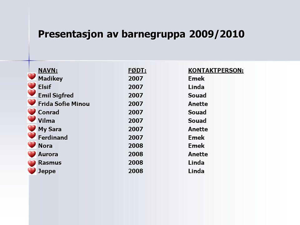 Presentasjon av barnegruppa 2009/2010 NAVN:FØDT:KONTAKTPERSON: Madikey2007Emek Elsif2007Linda Emil Sigfred2007Souad Frida Sofie Minou2007Anette Conrad