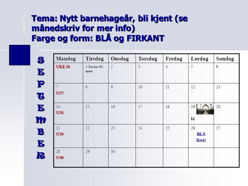 Tema: Nytt barnehageår, bli kjent (se månedskriv for mer info) Farge og form: BLÅ og FIRKANT MandagTirsdagOnsdagTorsdagFredagLørdagSøndag UKE 36 1 Før