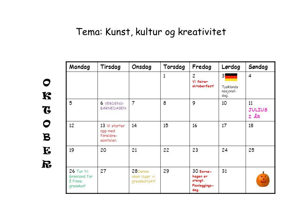 Tema: Kunst, kultur og kreativitet MandagTirsdagOnsdagTorsdagFredagLørdagSøndag 12 Vi feirer oktoberfest! 3 Tysklands nasjonal- dag. 4 5 6 VERDENS- BA