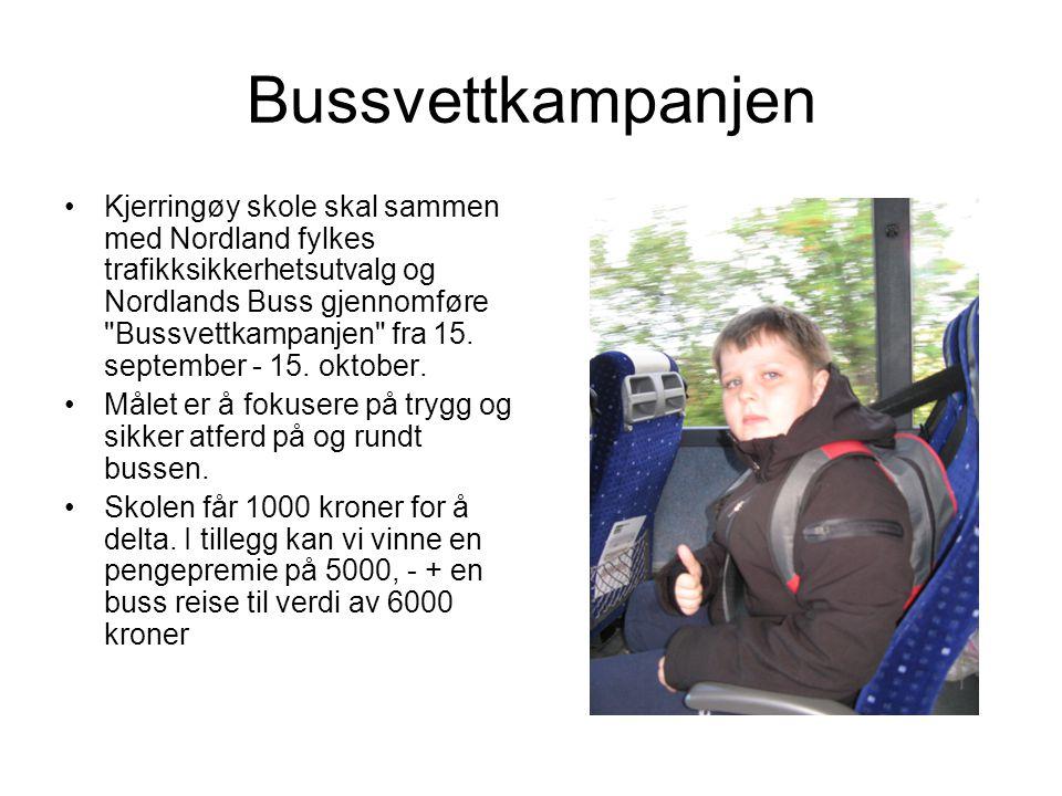 Bussvettkampanjen Kjerringøy skole skal sammen med Nordland fylkes trafikksikkerhetsutvalg og Nordlands Buss gjennomføre Bussvettkampanjen fra 15.