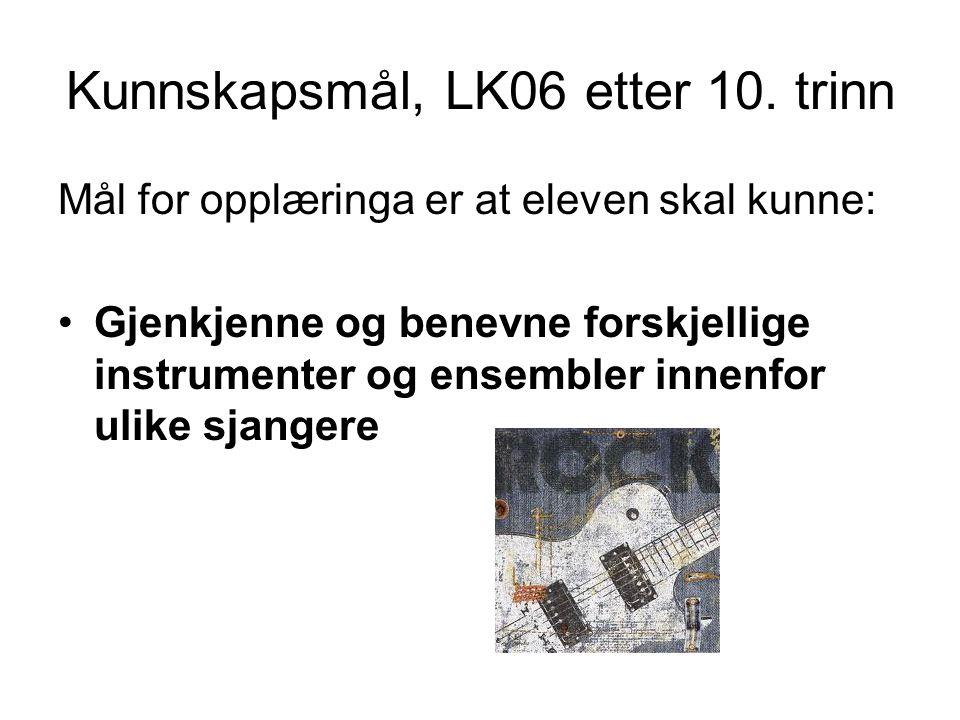 Kunnskapsmål, LK06 etter 10.