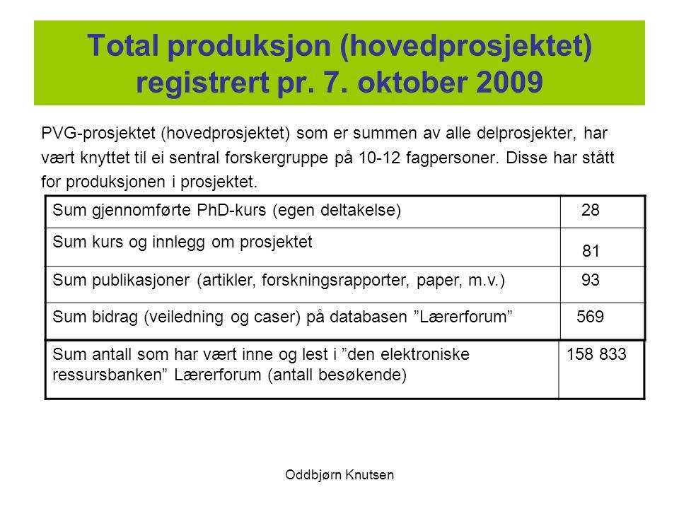 Oddbjørn Knutsen Total produksjon (hovedprosjektet) registrert pr. 7. oktober 2009 PVG-prosjektet (hovedprosjektet) som er summen av alle delprosjekte