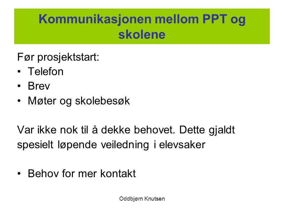 Oddbjørn Knutsen Kommunikasjonen mellom PPT og skolene Før prosjektstart: Telefon Brev Møter og skolebesøk Var ikke nok til å dekke behovet. Dette gja