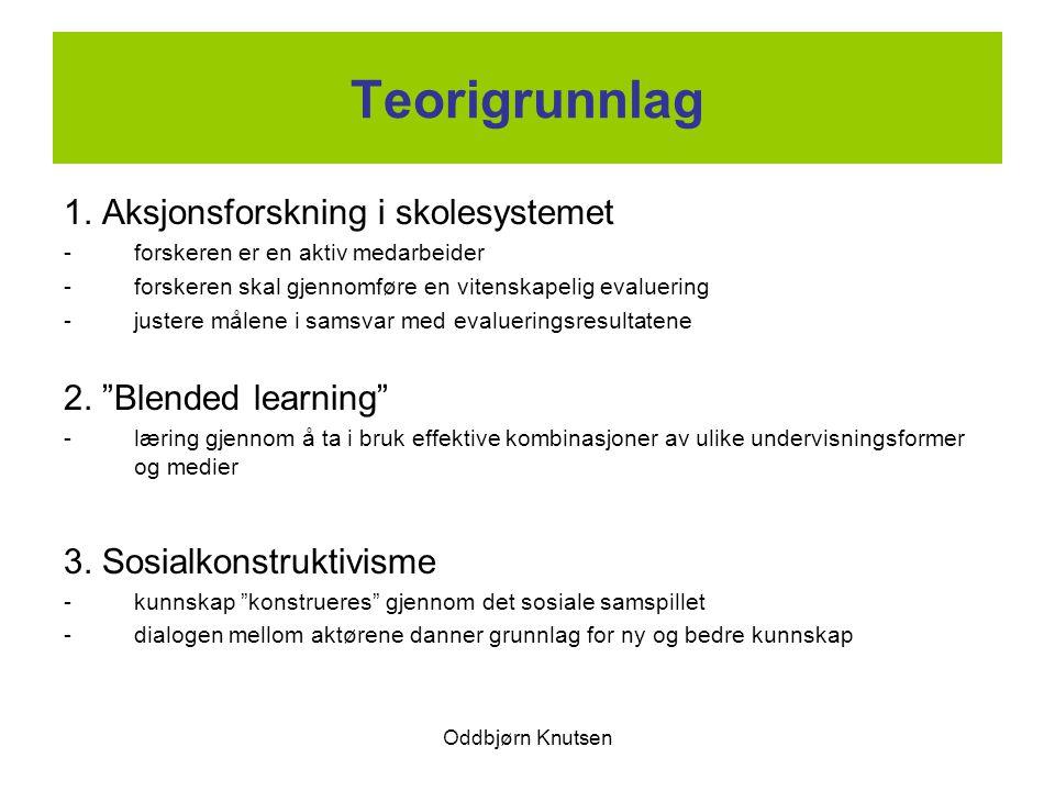 Oddbjørn Knutsen Teorigrunnlag 1. Aksjonsforskning i skolesystemet -forskeren er en aktiv medarbeider -forskeren skal gjennomføre en vitenskapelig eva