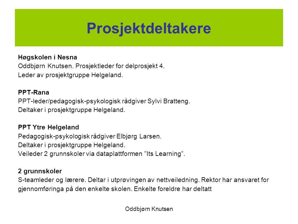Oddbjørn Knutsen Prosjektdeltakere Høgskolen i Nesna Oddbjørn Knutsen. Prosjektleder for delprosjekt 4. Leder av prosjektgruppe Helgeland. PPT-Rana PP