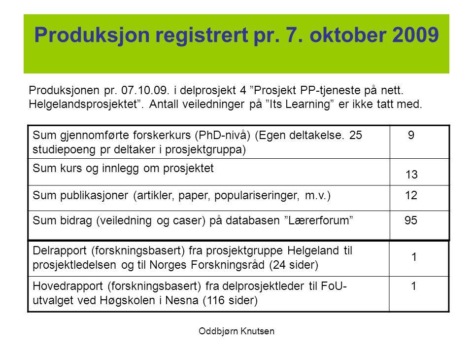 """Oddbjørn Knutsen Produksjon registrert pr. 7. oktober 2009 Produksjonen pr. 07.10.09. i delprosjekt 4 """"Prosjekt PP-tjeneste på nett. Helgelandsprosjek"""