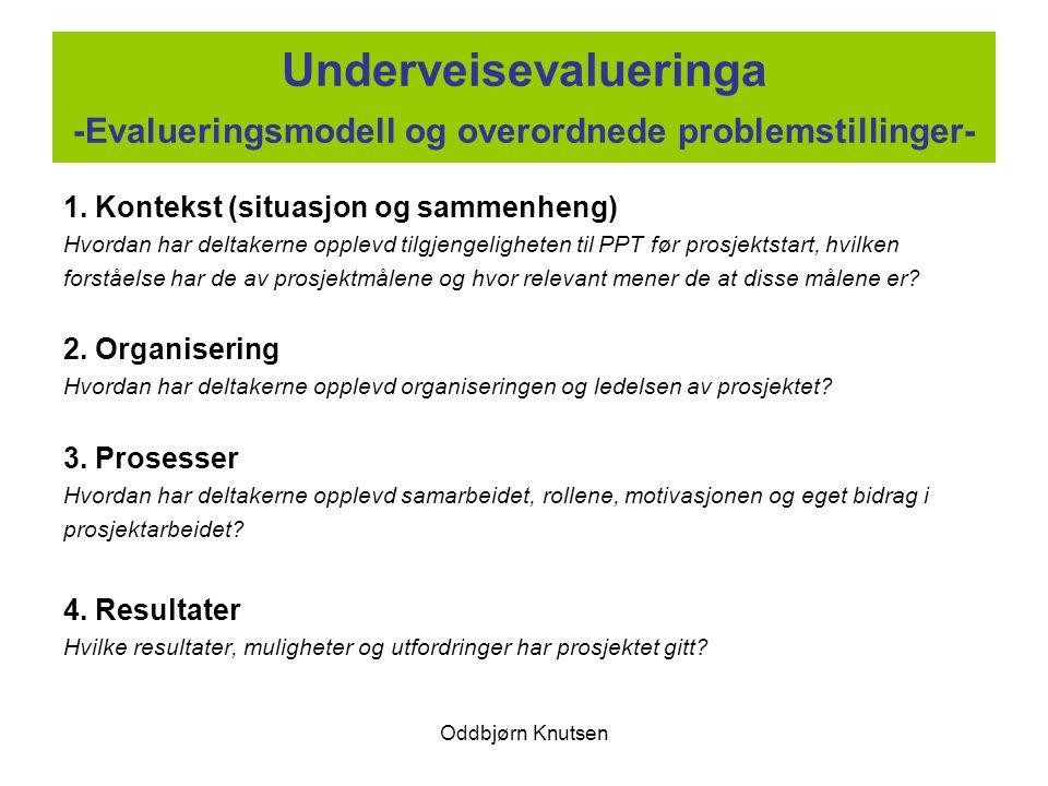 Oddbjørn Knutsen Underveisevalueringa -Evalueringsmodell og overordnede problemstillinger- 1. Kontekst (situasjon og sammenheng) Hvordan har deltakern